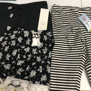 Lot of 3 Girls' S Black & White Pants and Shorts